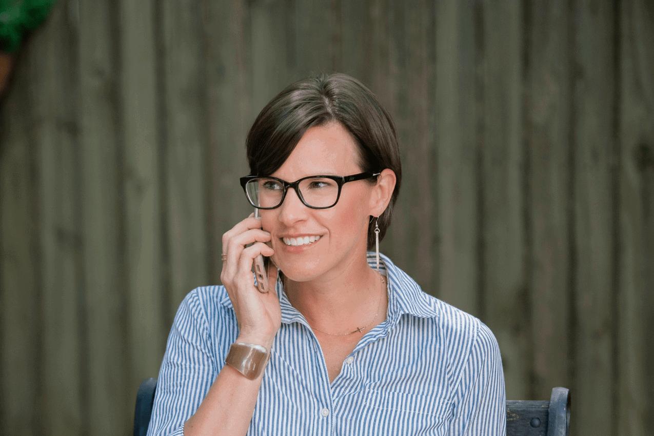 Anne listening on phone