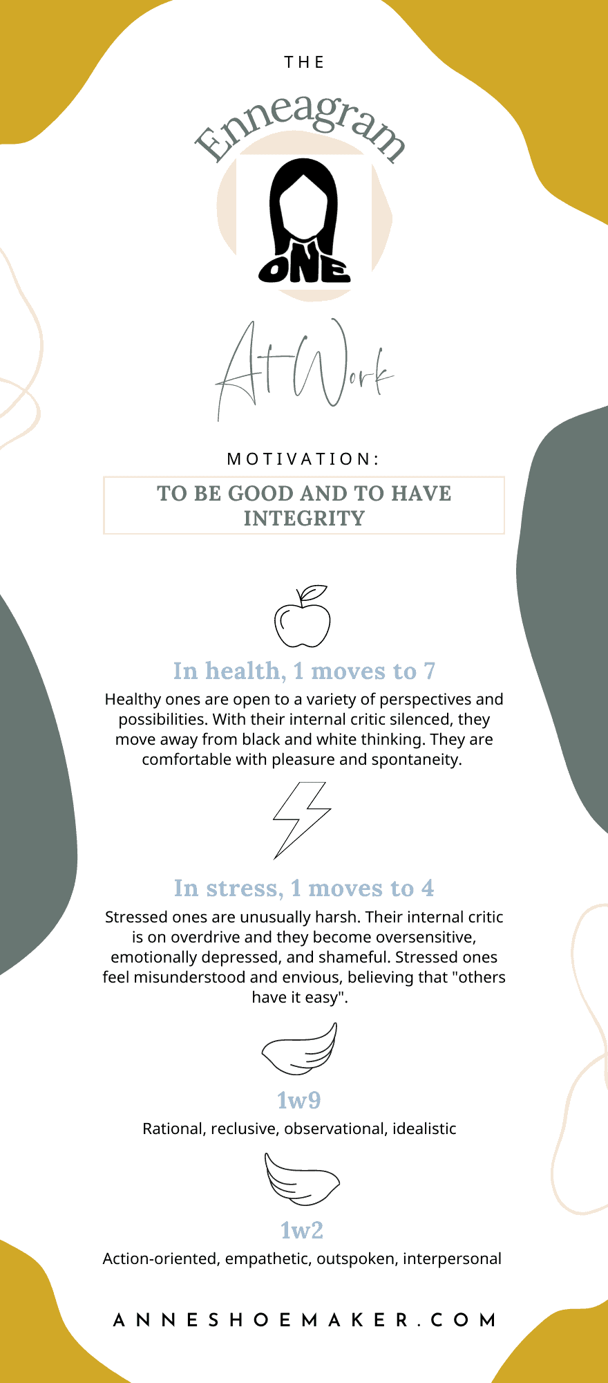 Enneagram 1 at work infographic